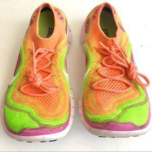 Nike Free Flyknit Rainbow Sherbet Running Trainers